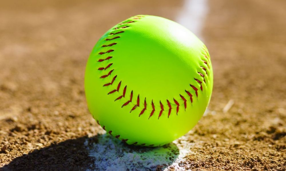 Softball on the white line